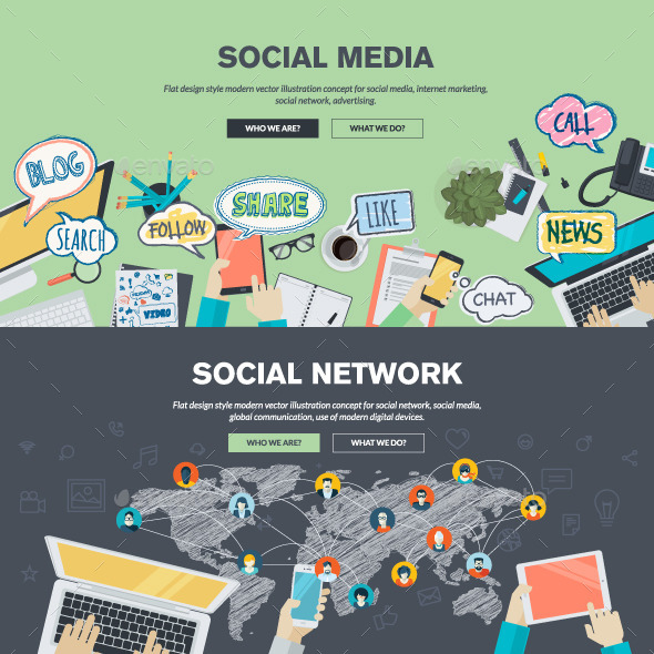GraphicRiver Flat Design Concepts for Social Media and Network 10913215