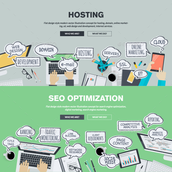 GraphicRiver Flat Design Concepts for Hosting and SEO 10913273