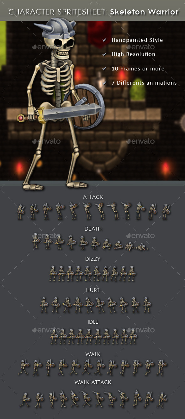 GraphicRiver Character Spritesheet Skeleton Warrior 10913274