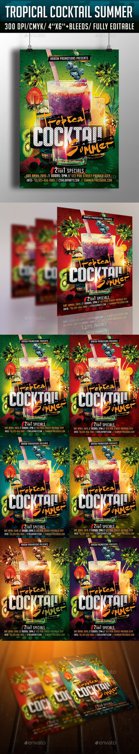 GraphicRiver Tropical Cocktail Summer Flyer Template 10913296