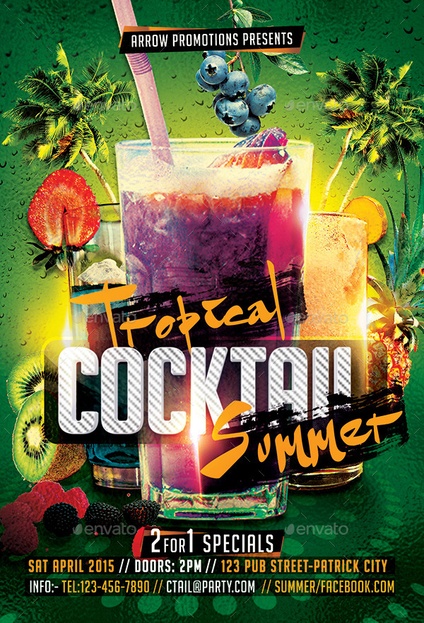 Tropical Cocktail Summer Flyer Template by Arrow3000 – Summer Flyer Template