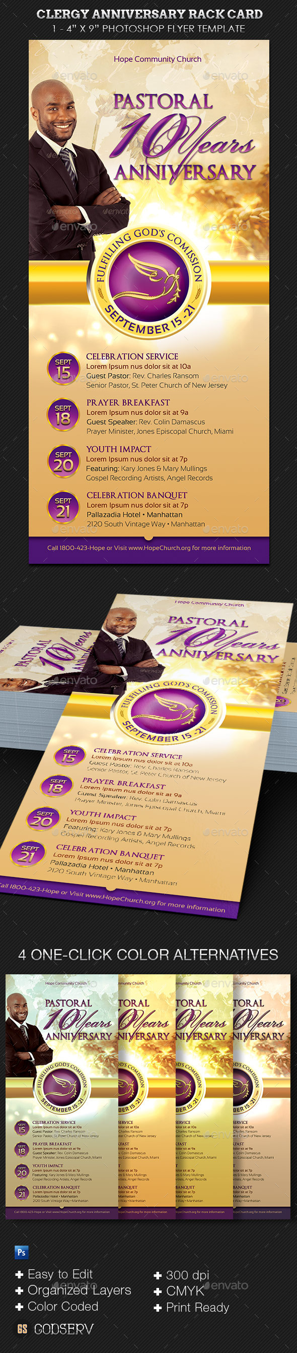 GraphicRiver Clergy Anniversary Rack Card Template 10913328