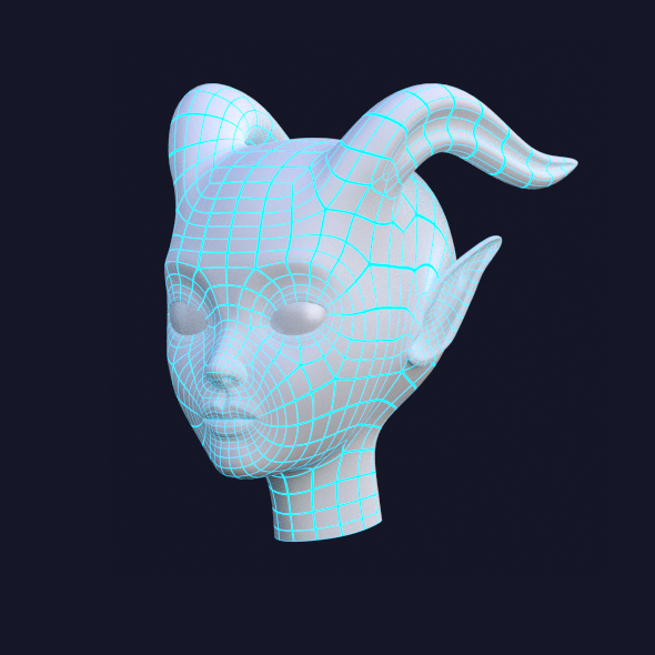 3DOcean Female Demon Head 10913546