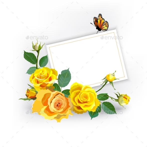 GraphicRiver Floral Background With Yellow Roses 10913949