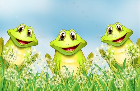 GraphicRiver Three Frogs in the Garden 10914157