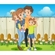 Family in the Backyard with a Wooden Fence - GraphicRiver Item for Sale