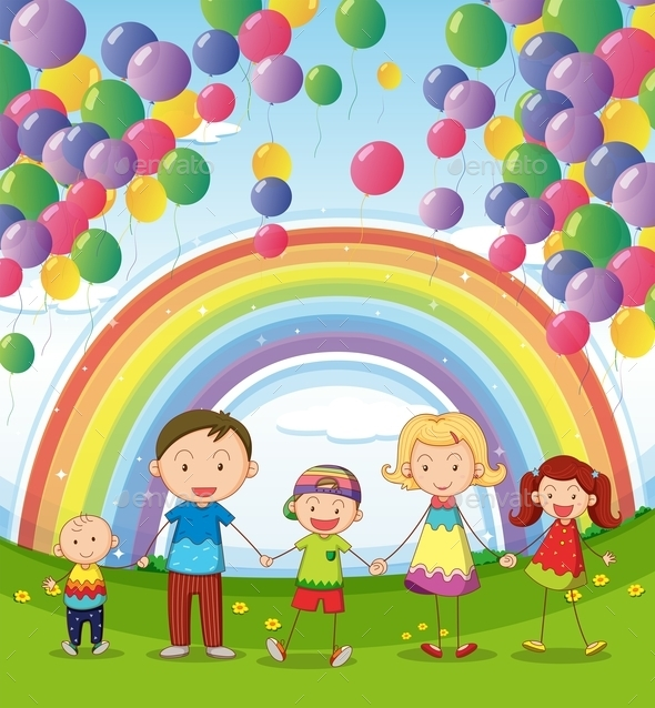 GraphicRiver Happy Family Under Floating Balloons 10914506