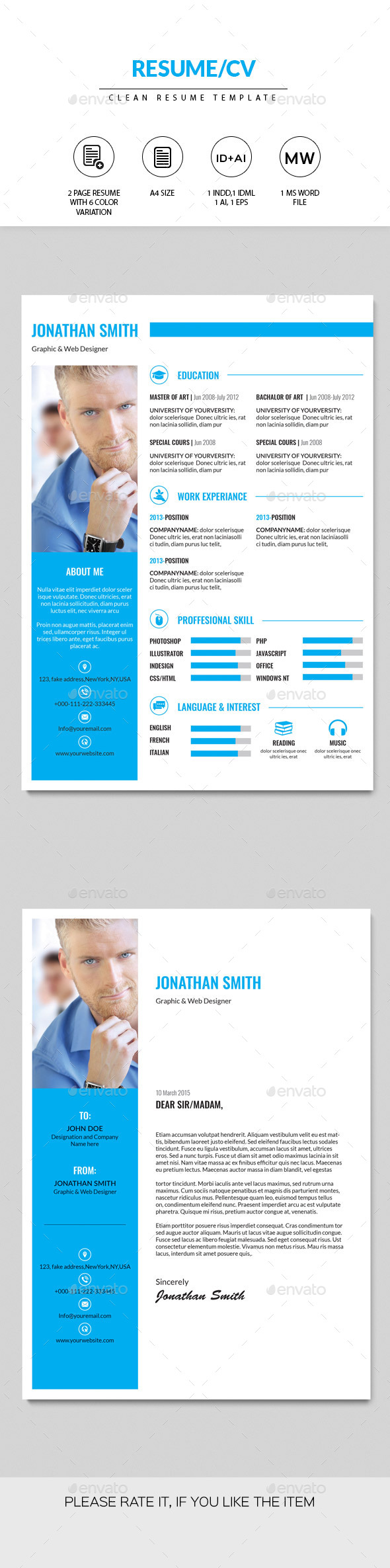 GraphicRiver Resume CV Template 10914609