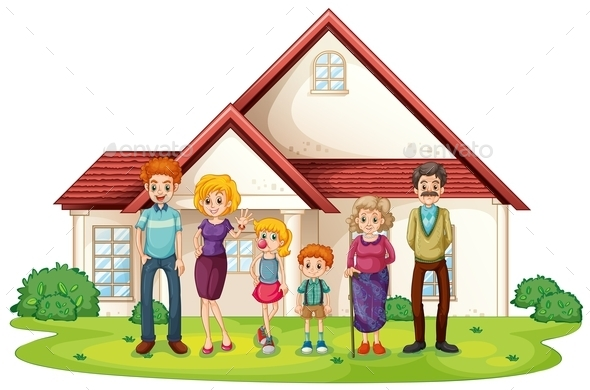 GraphicRiver Family in Front of Their House 10914628