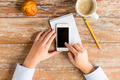 close up of hands with smartphone and coffee cup - PhotoDune Item for Sale
