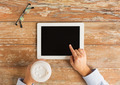 close up of female hands with tablet pc and coffee - PhotoDune Item for Sale