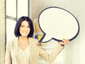 smiling businesswoman with blank text bubble - PhotoDune Item for Sale