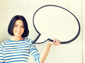 happy teenage girl with blank text bubble - PhotoDune Item for Sale