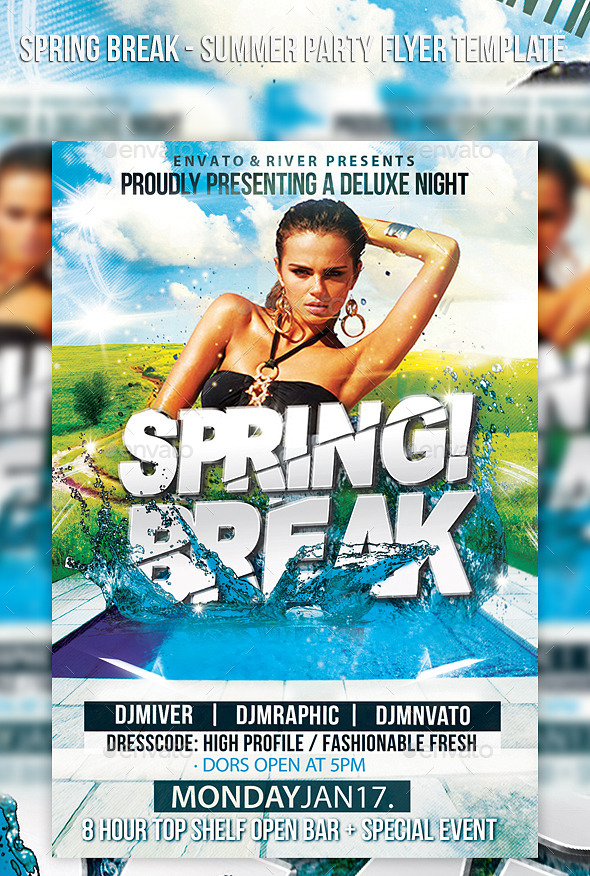 Spring Break Back Party Flyer Template
