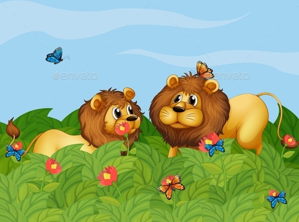 GraphicRiver Two Lions in the Garden with Butterflies 10914686