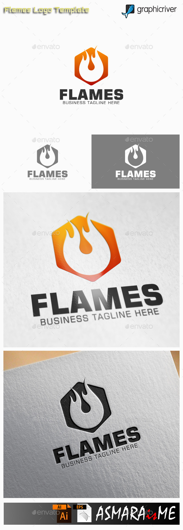 GraphicRiver Flame Fire Hexagon Logo 10915477