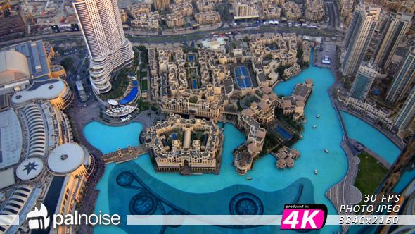 Dubai Fountain Panoramic Aerial
