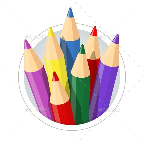 GraphicRiver Set of Colour Pencils For Drawing 10916016