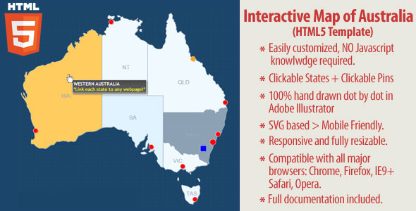 Interactive Map of Australia - HTML5 - CodeCanyon Item for Sale