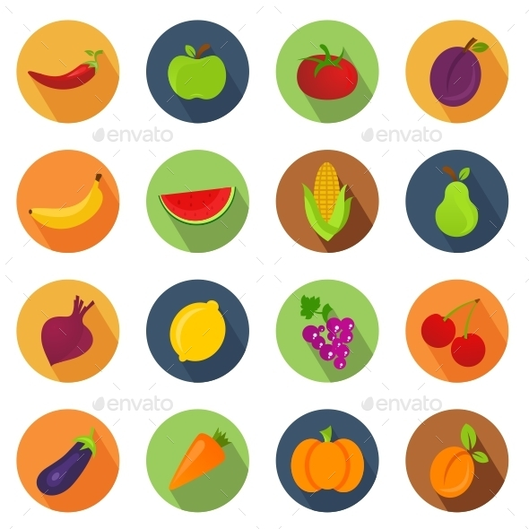 GraphicRiver Vegetables and Fruit Circle Icons 10916600