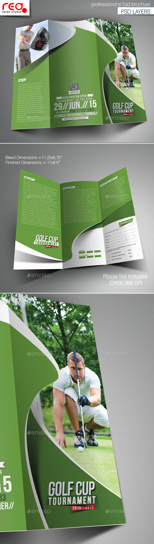 GraphicRiver Golf Tournament Trifold Brochure Template 10916831