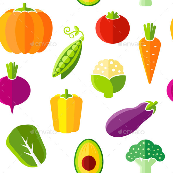 GraphicRiver Seamless Pattern with Fresh Organic Vegetables 10916893