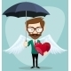 Angel Man with an Umbrella, Wings and Heart - GraphicRiver Item for Sale