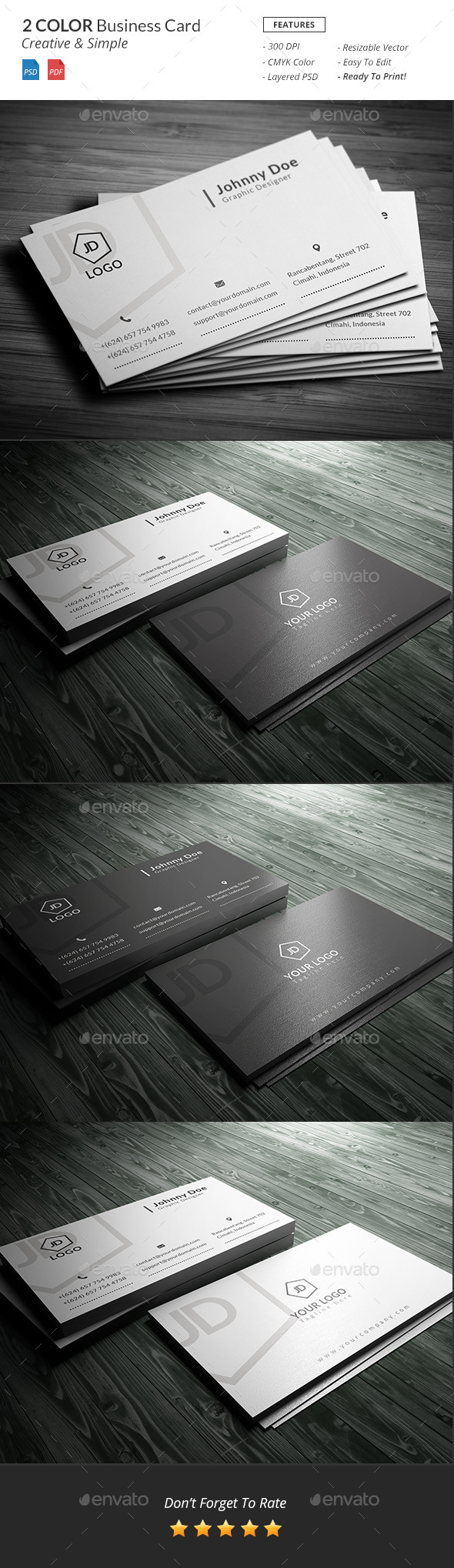 GraphicRiver Black & White Business Card 10916944