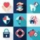 Insurance Icons in a Flat Style - GraphicRiver Item for Sale