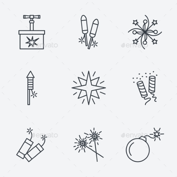 GraphicRiver Pyrotechnic Icons Set 10917295