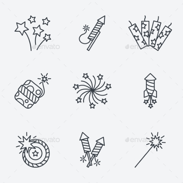 GraphicRiver Pyrotechnic Icons Set Thin Line Style 10917296