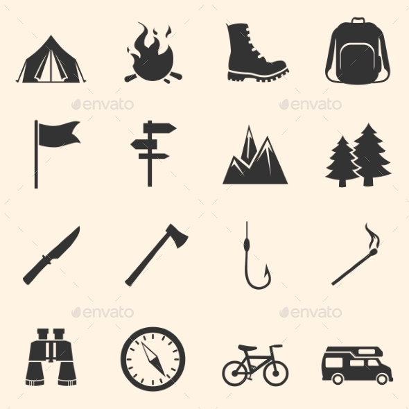 GraphicRiver Set of Hiking and Camping Icons 10917579