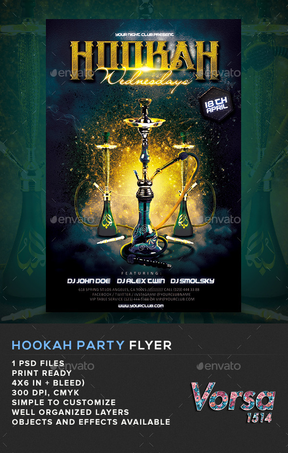 GraphicRiver Hookah Party Flyer 10917773