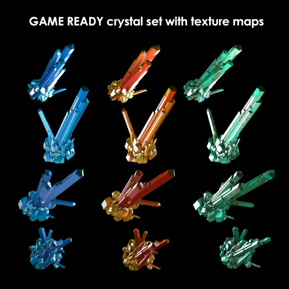 Low Poly Crystal Set Game Asset - 3DOcean Item for Sale