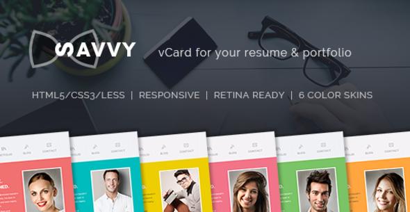 ThemeForest Savvy Personal vCard Resume & Portfolio Template 10811117