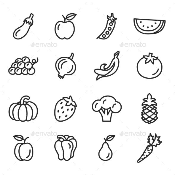 GraphicRiver Vegetables and Fruits Icons Set 10918411