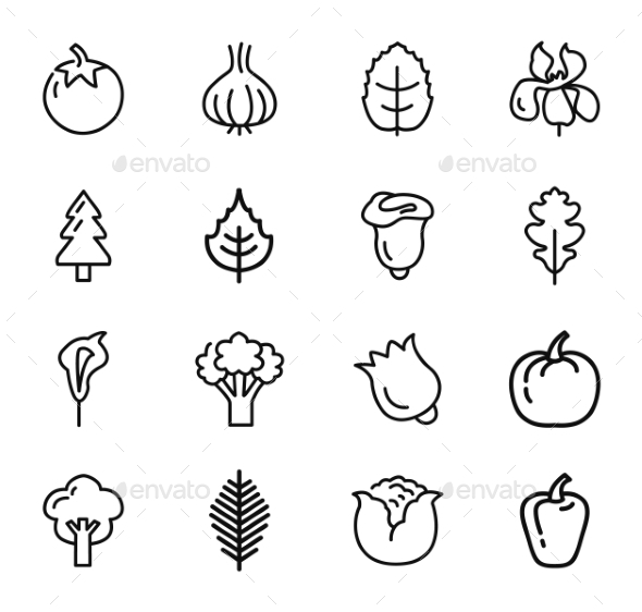 GraphicRiver Vegetables and Fruits Icons set 10918624
