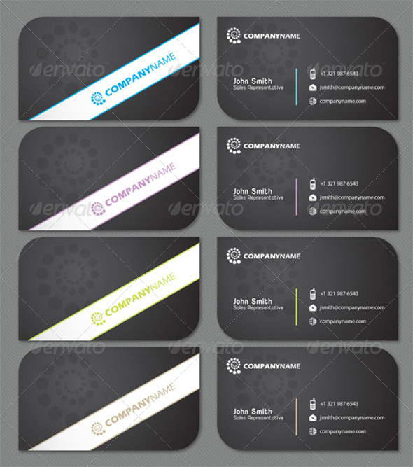 GraphicRiver Sleek Black Business Card with Two Rounded Corners 134838