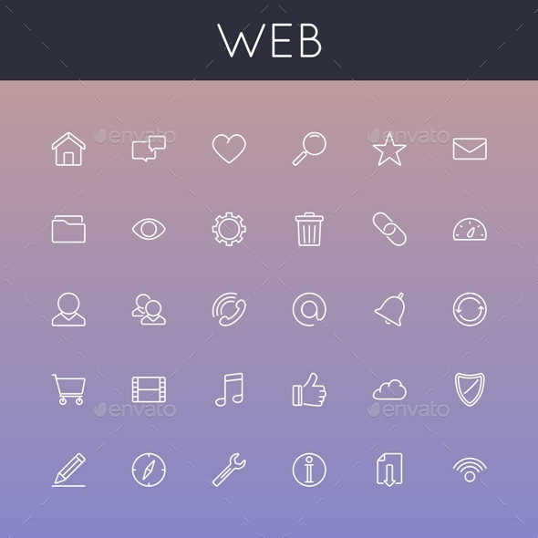 GraphicRiver Web Line Icons 10919384