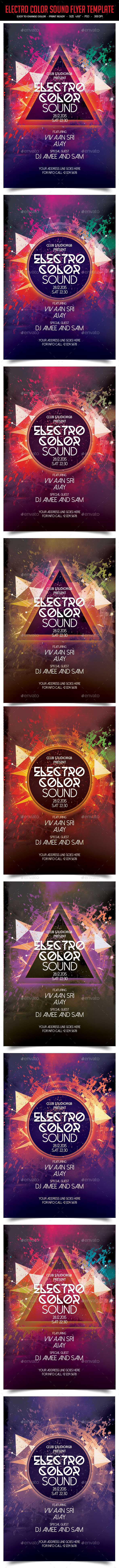GraphicRiver Electro Color Sound Flyer Template 10919768