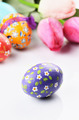 Easter eggs and flowers on white - PhotoDune Item for Sale