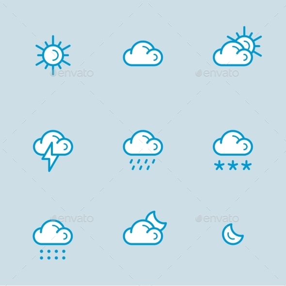 GraphicRiver Weather Icons with White Background 10919864