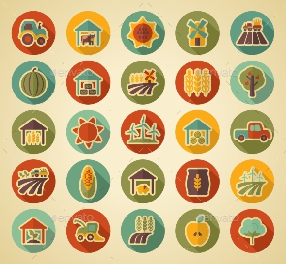 GraphicRiver Farm Field Retro Icons 10920303