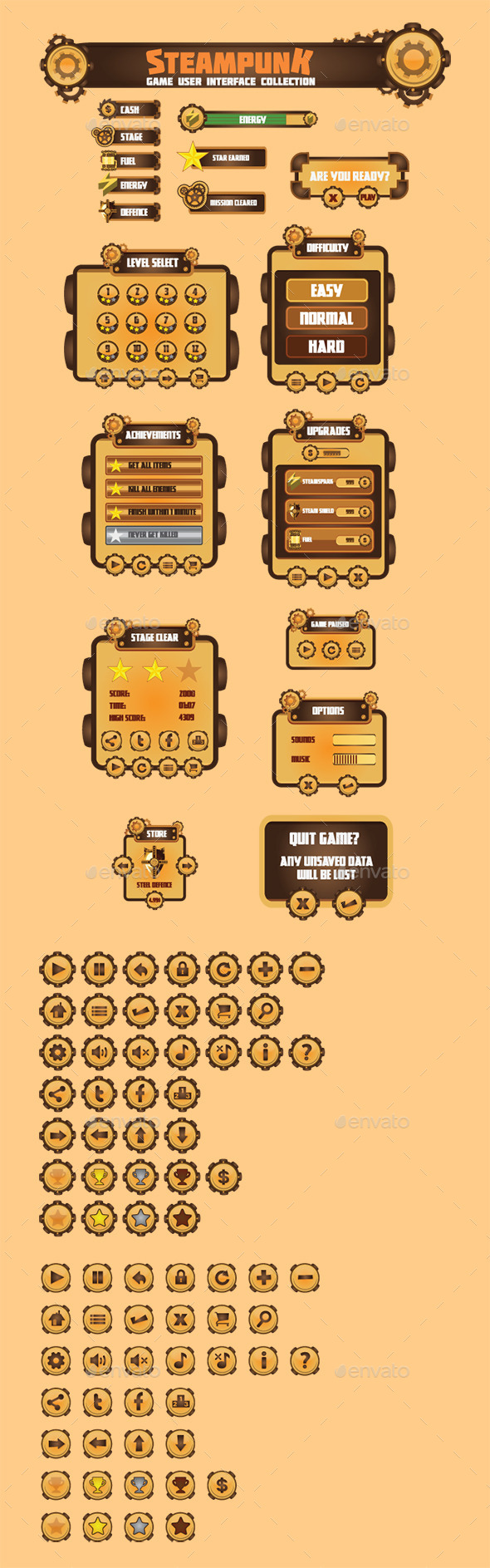 GraphicRiver Steam Punk Game User Interface Set 10920467