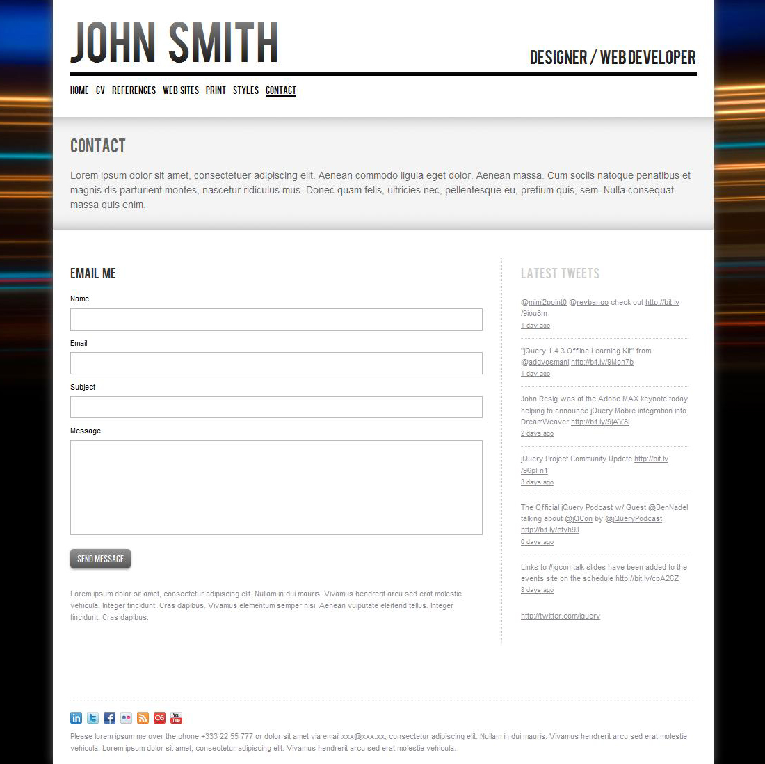 John Smith. Personal CV/Portfolio Website Template