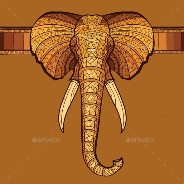 GraphicRiver Elephant Head with Ethnic Ornament 10920963