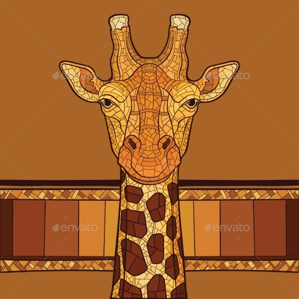 GraphicRiver Decorative Giraffe Head 10920975