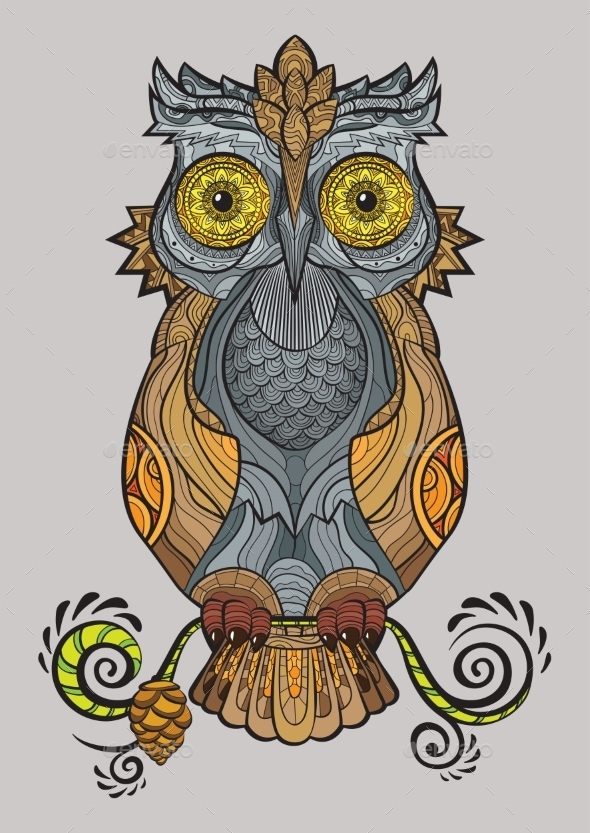GraphicRiver Decorative Owl on a Branch 10920997