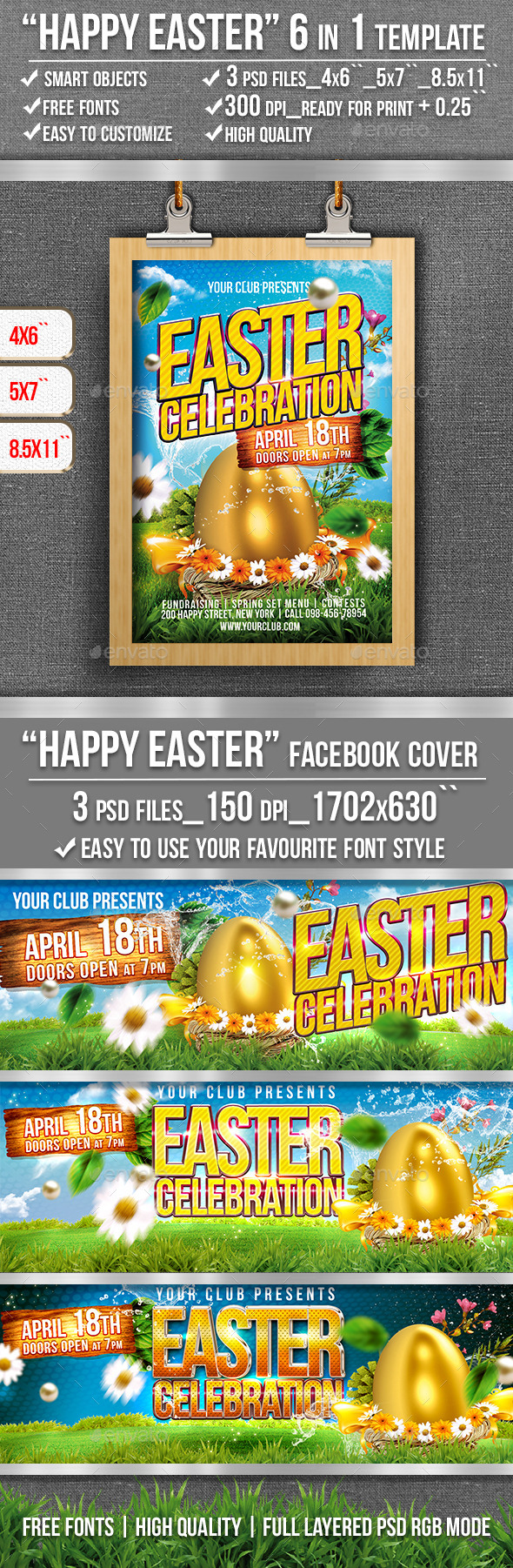 GraphicRiver Happy Easter Flyer Template 10860440
