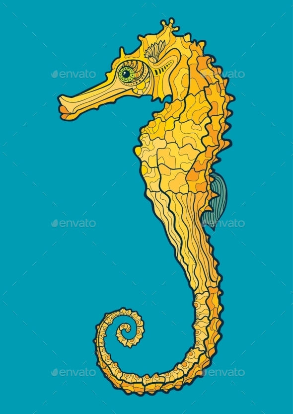 GraphicRiver Decorative Seahorse 10921003